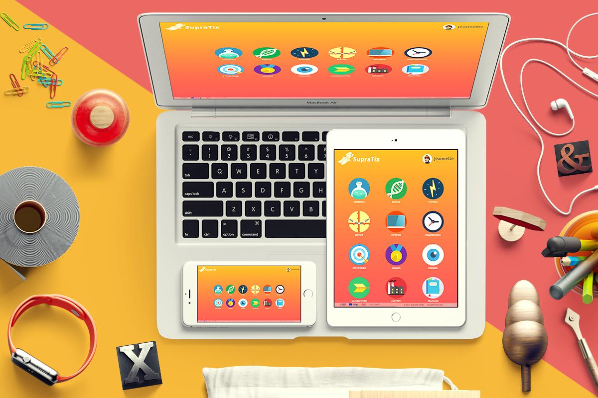 Nutzeroberfläche von SupraTix auf verschiedenen Geräten.